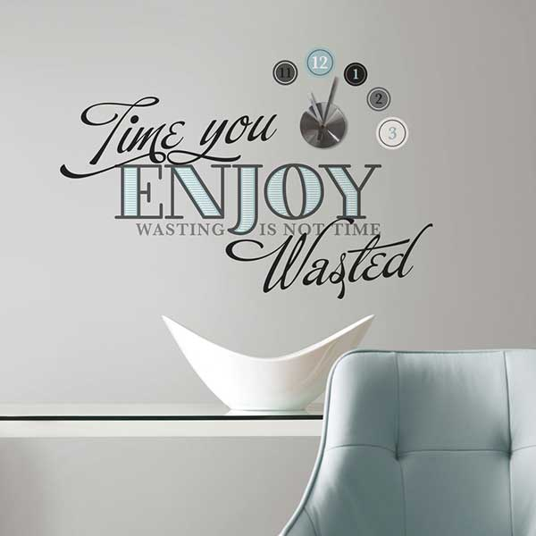 Wall stickers orologio time to enjoy rmd2411clk for Orologio stickers