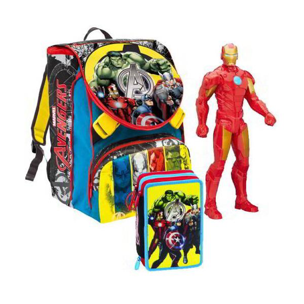 345e82034d School pack zaino sdoppiabile con astuccio e personaggio Avengers ...